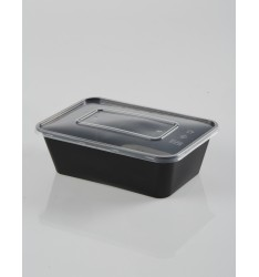 MICROWAVE CONTAINER BLACK  WITH TRANSPARENT LID 750cc