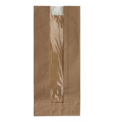 BROWN KRAFT WINDOW PAPER BAGS SIZE 9x22