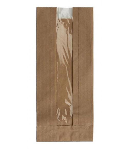 BROWN KRAFT WINDOW PAPER BAGS SIZE 9x22