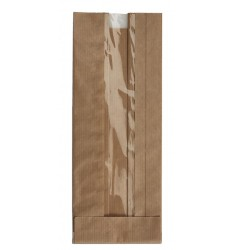 BROWN KRAFT WINDOW PAPER BAGS SIZE 12x27