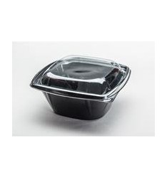 SQUARE PET SALAD BOWL 1000 BLACK/50pcs