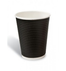 Ripple Paper Cup Black 8oz/25pcs