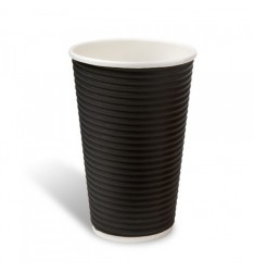 Ripple Paper Cup Black 16oz/25pcs