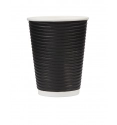 Ripple Paper Cup Black 12oz/25pcs