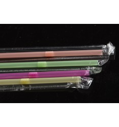 FLEXIBLE STRAW FLUORESENT/WRAPPED/24cm/100pcs