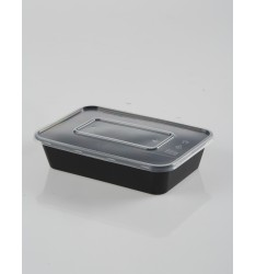 MICROWAVE CONTAINER BLACK  WITH TRANSPARENT LID 500cc