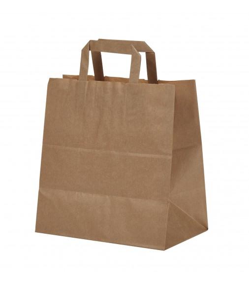 BROWN KRAFT PAPER BAG 26X26X18 WITH FLAT HANDLES