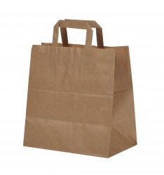 BROWN KRAFT PAPER BAG 26X26X18 WITH FLAT HANDLES