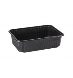 MICROWAVE CONTAINER BLACK (RIPPLE) 750cc