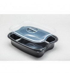MICROWAVE CONTAINER BLACK 3 COMPARTMENTS 1100cc