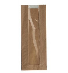 BROWN KRAFT WINDOW PAPER BAGS SIZE 12x34