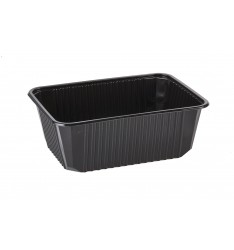 MICROWAVE CONTAINER BLACK (RIPPLE) 1.000cc