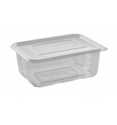RECTANGULAR 2000cc HINGED LID PET CONTAINER