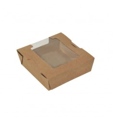AUTOMATED KRAFT PAPER SALAD CONTAINERS WITH PET WINDOW (13Χ13Χ5)