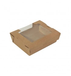 AUTOMATED KRAFT PAPER SALAD CONTAINERS WITH PET WINDOW (17,5Χ13Χ6)