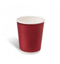 Ripple Paper Cup Red 8oz/25pcs