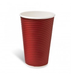 Ripple Paper Cup Red 16oz/25pcs